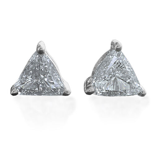 9K White Gold 0.28 Carat Trillion Diamond Solitaire Stud Earrings SGL Certified I3 G-H.