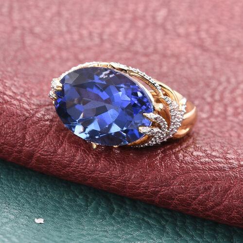 Ceylon Colour Quartz (Ovl 12.15 Ct), Diamond Ring in 14K Gold Overlay Sterling Silver 12.200 Ct.