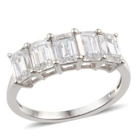 J Francis Platinum Plated Silver 3.30 Carat Made With Swarovski Zirconia Half Eternity Ring