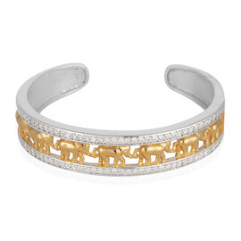 ELANZA AAA Simulated Diamond (Rnd) Elephant Cuff Bangle (Size 7.5) in Yellow Gold and Rhodium Plated Sterling Silver