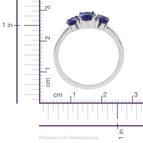 ILIANA 18K White Gold 1.50 Carat AAA Tanzanite Oval Trilogy Ring.