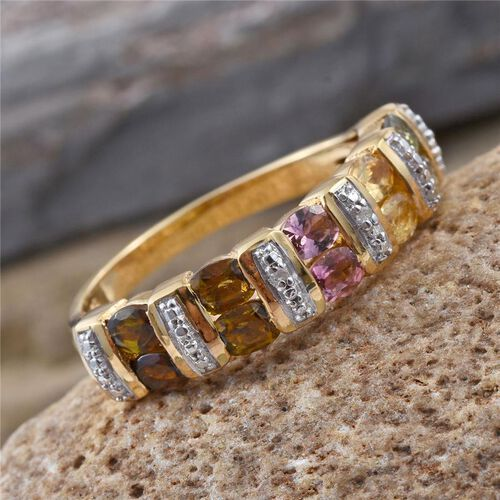 Rainbow Tourmaline (Ovl), Diamond Ring in 14K Gold Overlay Sterling Silver 1.510 Ct.