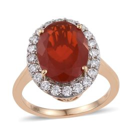 ILIANA 18K Y Gold AAAA Jalisco Fire Opal (Ovl 4.00 Ct), Diamond Ring 5.000 Ct.