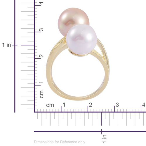 Golden Shell Pearl (Rnd), White Shell Pearl Ring in Yellow Gold Overlay Sterling Silver