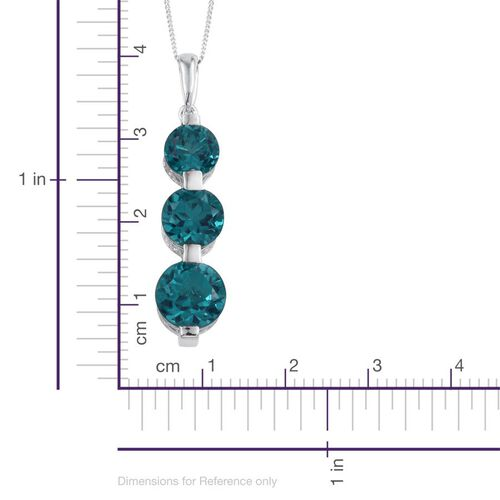 Capri Blue Quartz (Rnd 4.35 Ct) 3 Stone Pendant With Chain in Platinum Overlay Sterling Silver 9.850 Ct.