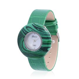 GENOA Japanese Movement Simulated Malachite  , White Austrian Crystal Studded Water Resistant Watch  With Stainless Steel Back and Green Strap 55.000 Ct.