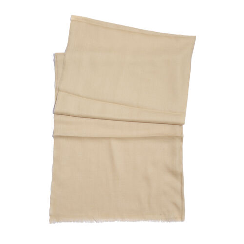 NEW FOR SEASON - 88% Merino Wool and 12% Silk Cream Colour Scarf (Size 200x70 Cm)