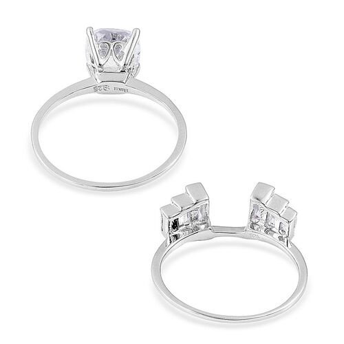 ELANZA AAA Simulated White Diamond (Cush) 2 Ring Set in Rhodium Plated Sterling Silver