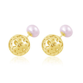 Fresh Water White Pearl (Rnd) Front and Back Stud Earrings (with Push Back) in Yellow Gold Overlay Sterling Silver