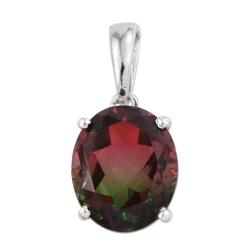 Bi-Color Tourmaline Quartz (Ovl) Solitaire Pendant in Platinum Overlay Sterling Silver 5.500 Ct.