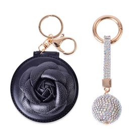Set of 2 - AAA White Austrian Crystal and Simulated Diamond Black 3D Floral and Ball Shape Bag Charm in Yellow Gold Tone
