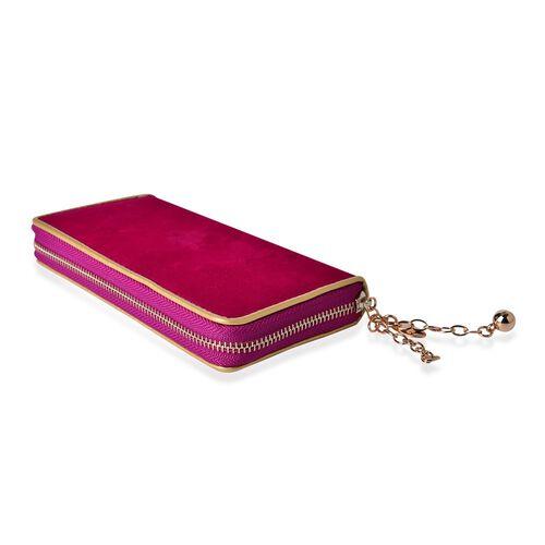 Fuchsia Velvet Wallet with Gold Frame (Size 19.5x9.5x3 Cm)