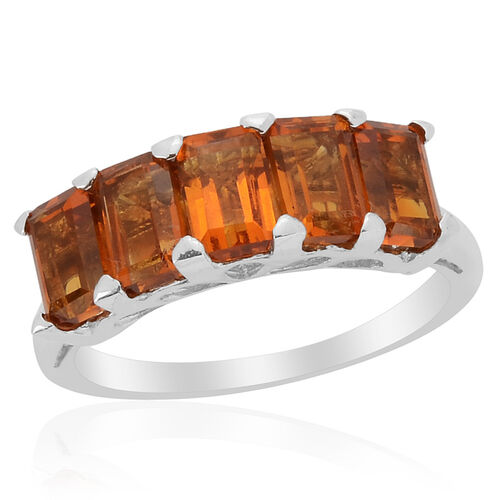 Madeira Citrine (Oct), Diamond Ring in Platinum Overlay Sterling Silver 2.610 Ct.