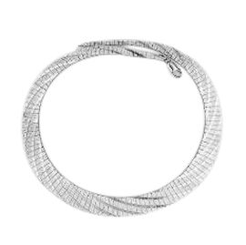 Vicenza Collection Rhodium Plated Sterling Silver Cleopatra Wave Necklace (Size 18), Silver wt 32.80 Gms.