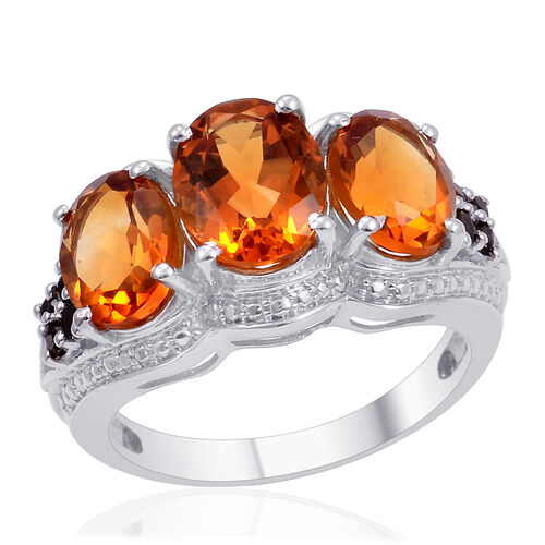 Designer Collection Madeira Citrine (Ovl 1.75 Ct), Brazilian Smoky Quartz Ring in Platinum Overlay Sterling Silver 4.275 Ct.