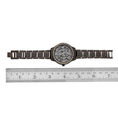 STRADA Japanese Movement Leopard Dial White Austrian Crystal Watch in Black Tone Strap