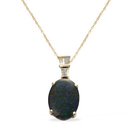 9K Y Gold Canadian Ammolite (Ovl 3.75 Ct), Diamond Pendant With Chain 4.000 Ct.