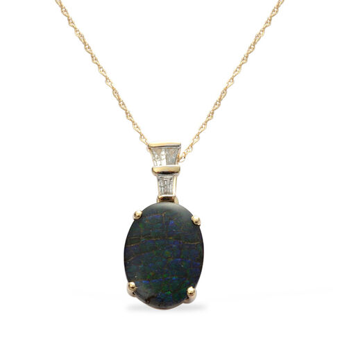 9K Y Gold Canadian Ammolite (Ovl 3.75 Ct), Diamond Pendant With Chain 4.000 Ct.