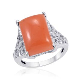 Mitiyagoda Peach Moonstone (Bgt) Solitaire Ring in Platinum Overlay Sterling Silver 5.750 Ct.