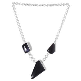 Jewels of India Black Onyx Necklace in Sterling Silver 111.750 Ct.