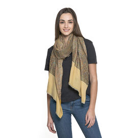 OTO - 88% Merino Wool and 12% Silk Mustard and Multi Colour Shawl with Fringes at the Bottom (Size 180x70 Cm)