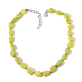 Jasper Necklace (Size 20 with 2 inch Extender) in Stainless Steel 335.000 Ct.