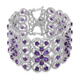 Very Rare Lusaka AAA Amethyst (Pear and Round) Bracelet (Size 7) in Rhodium Plated Sterling Silver 20.000 Ct.