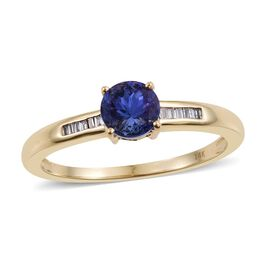 14K Yellow Gold 0.85 Carat AA Tanzanite And Diamond (I3/G-H) Ring