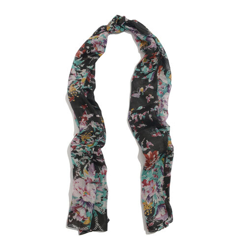 Winter Special 100% Mulberry Silk Floral and Butterfly Pattern Black and Multi Colour Pareo (Size 175x100 Cm)