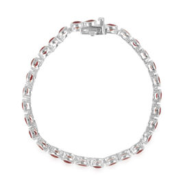 African Ruby (Rnd) Bracelet (Size 7) in Rhodium Plated Sterling Silver 10.000 Ct.