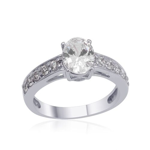 J Francis - Platinum Overlay Sterling Silver (Ovl) Ring Made with SWAROVSKI ZIRCONIA 1.510 Ct.