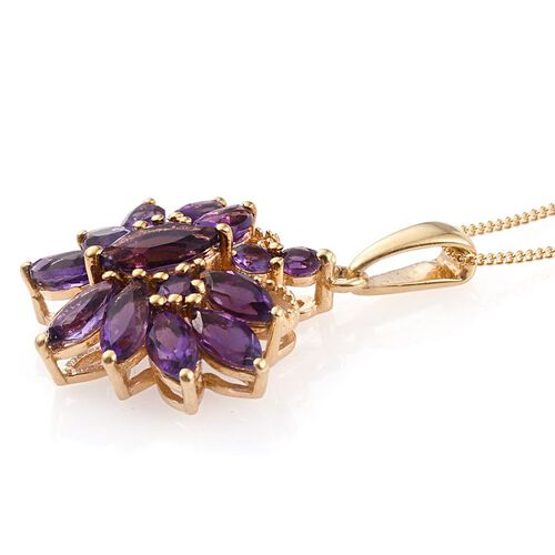 Amethyst (Mrq) Butterfly Pendant With Chain in 14K Gold Overlay Sterling Silver 2.750 Ct.