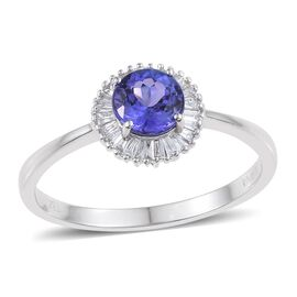 ILIANA 18K W Gold AAA Tanzanite (Rnd 1.25 Ct), Diamond (SI/G-H) Ring 1.500 Ct.