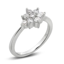 9K W Gold GSI Certified Diamond (Rnd) (I3/ G-H) Floral Ring 0.500 Ct.