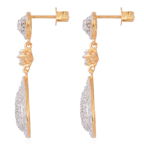 Signature Collection - ELANZA AAA Simulated Diamond (Rnd) Earrings (with Push Back) in 14K Gold Overlay Sterling Silver