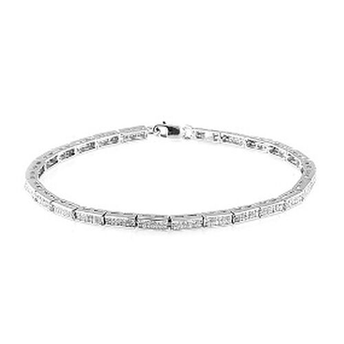 Diamond (Sqr) Bracelet in Platinum Overlay Sterling Silver (Size 7.5) 2.000 Ct.