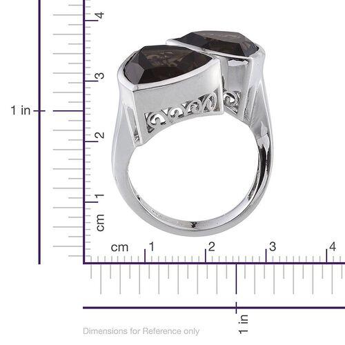 Brazilian Smoky Quartz (Trl) Ring in Platinum Overlay Sterling Silver 10.000 Ct.