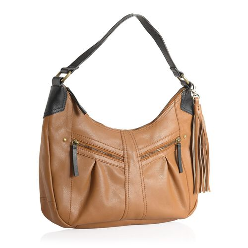 Genuine Leather Amber Tan Colour Handbag with External Zipper Pocket and Removable Shoulder Strap (Size 27 X 35 X 10 Cm)