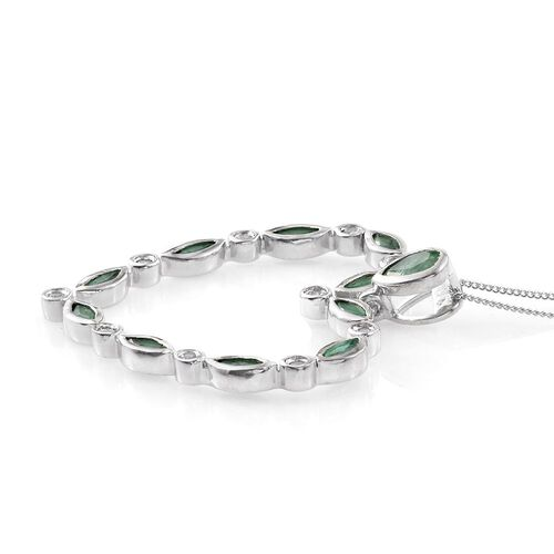 Kagem Zambian Emerald (Pear), White Topaz Heart Pendant with Chain in Platinum Overlay Sterling Silver 2.000 Ct.