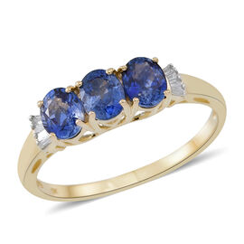 9K Yellow Gold 1.50 Carat AA Ceylon Blue Sapphire And Diamond Ring