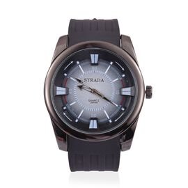 STRADA Japanese Movement Black and Blue Colour Dial Water Resistant Watch in Black Tone with Stainless Steel Back and Black Silicone Strap