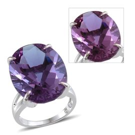 Lavender Alexite (Ovl) Solitaire Ring in Platinum Overlay Sterling Silver 28.750 Ct.