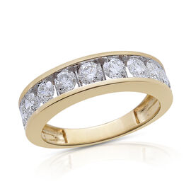 ILIANA 18K Y Gold Diamond (Rnd) Half Eternity Band Ring 1.500 Ct.