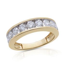 ILIANA 18K Y Gold IGI Certified Diamond (Rnd) (SI/G-H) Half Eternity Band Ring 1.500 Ct.
