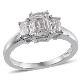 J Francis - Platinum Overlay Sterling Silver (Oct) 3 Stone Ring Made with SWAROVSKI ZIRCONIA