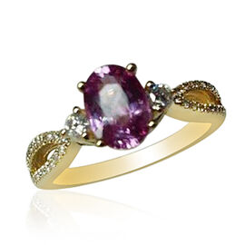 ILIANA 18K Y Gold AAAA Hot Pink Sapphire (Ovl 1.00 Ct), Diamond (SI/G-H) Ring 1.210 Ct.