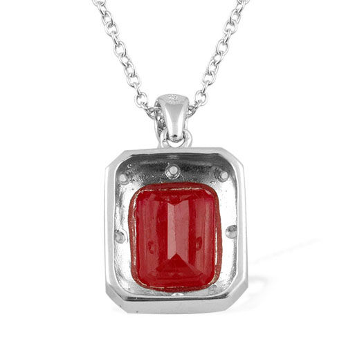 Celebrity African Ruby (7.00 Ct),White Topaz Platinum Overlay Sterling Silver Pendant With Chain  7.050  Ct.