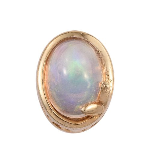Ethiopian Welo Opal (Ovl) Solitaire Pendant in 14K Gold Overlay Sterling Silver 0.500 Ct.