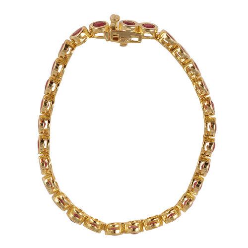 African Ruby (Rnd) Bracelet (Size 8) in 14K Gold Overlay Sterling Silver 11.250 Ct.