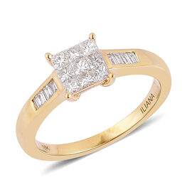 ILIANA 18K Yellow Gold 0.50 Carat Diamond Princess Ring Invisible Setting IGI Certified SI G-H.